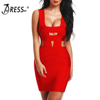 INDRESSME 2017 New Women Sexy Sheath Hollow Out Solid Tank Summer Bandage Dress