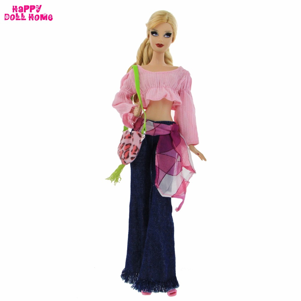 High Quality Outfit Daily Casual Wear Pink Horn Sleeve Tops Scarves Belt Jeans Clothes For Barbie FR Kurhn Doll Accessories Gift high quality elastic leather bottoms pants trousers for barbie doll clothes fashion outfit for 1 6 bjd dolls accessories