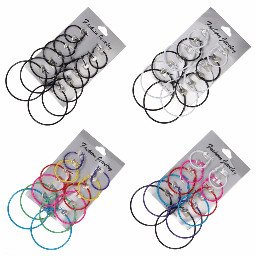 6 Pairs/Set Hoop Earrings Women Jewelry Circle Fashion Black White Charm Simple Hair Accessories