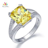 Peacock Star Solid 925 Sterling Silver Luxury Ring Anniversary 6 Carat Yellow Canary Created Diamante CFR8154