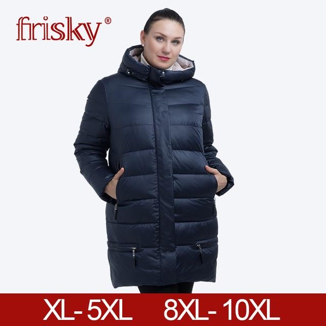 Frisky 2018 Женский пуховки плюс размера Для женщин пальто с капюшоном плюс Размеры 11XL зимнее толстое пальто Для женщин новая зимняя коллекция Горячие FR-1825