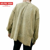 Aelfric Eden Pullover Men Long Sleeve T Shirt Men Vintage Solid Color Tee Shirt Overhem Ripped Mens T Shirts Fashion 2017 PA142