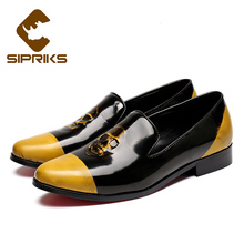 Halloween Gift Sipriks font b mens b font casual loafers with Skull head yellow and black