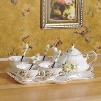 Европейский набор кофейных чашек из костяного фарфора с камелией, британский фарфор, чайная чашка, керамический чайник, сливочник, сахарниц