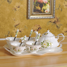 Europe Camellia Bone China Coffee cup Set British Porcelain Tea Ceramic Pot Creamer Sugar Bowl Teatime Teapot Cup