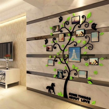 Acrylic 3D Family Photo Frame Tree Wall Stickers Removable DIY Art Wall Poster Decals Poster For Living Room Bedroom Home Decor 1
