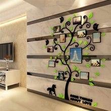 Marco de foto familiar 3D acrílico, pegatinas de pared de árbol, Póster Artístico de pared DIY extraíble, pegatinas para póster para sala de estar, dormitorio, decoración del hogar