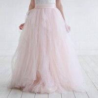 Haute Couture 2018 Bridal Tulle Váy cho Phụ Nữ Kịch Bóng Gown Wedding Váy Duyên Dáng Blush Pink Dài Tulle Váy Saia