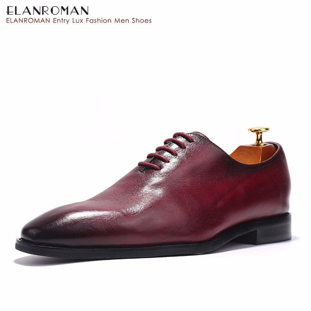 ELANROMAN Classic Retro Luxury Italian Handmade Shoes Lace Up Business Oxford Shoes Men's Business Dress Derby Shoes