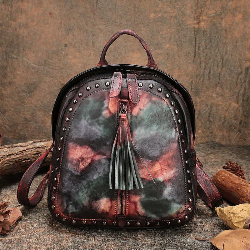 4be10df61948 Панелями тетрадь сумки рюкзаки женские ретро пояса из натуральной кожи для  женщин рюкзак сумка ручной работы