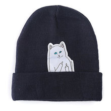 2017 Cute Cat Pattern Women's Hat Headgear For Women Beanies Knitting Cap Men's Braid Hats Erect Middle Finger Winter Warm Gorro(China)