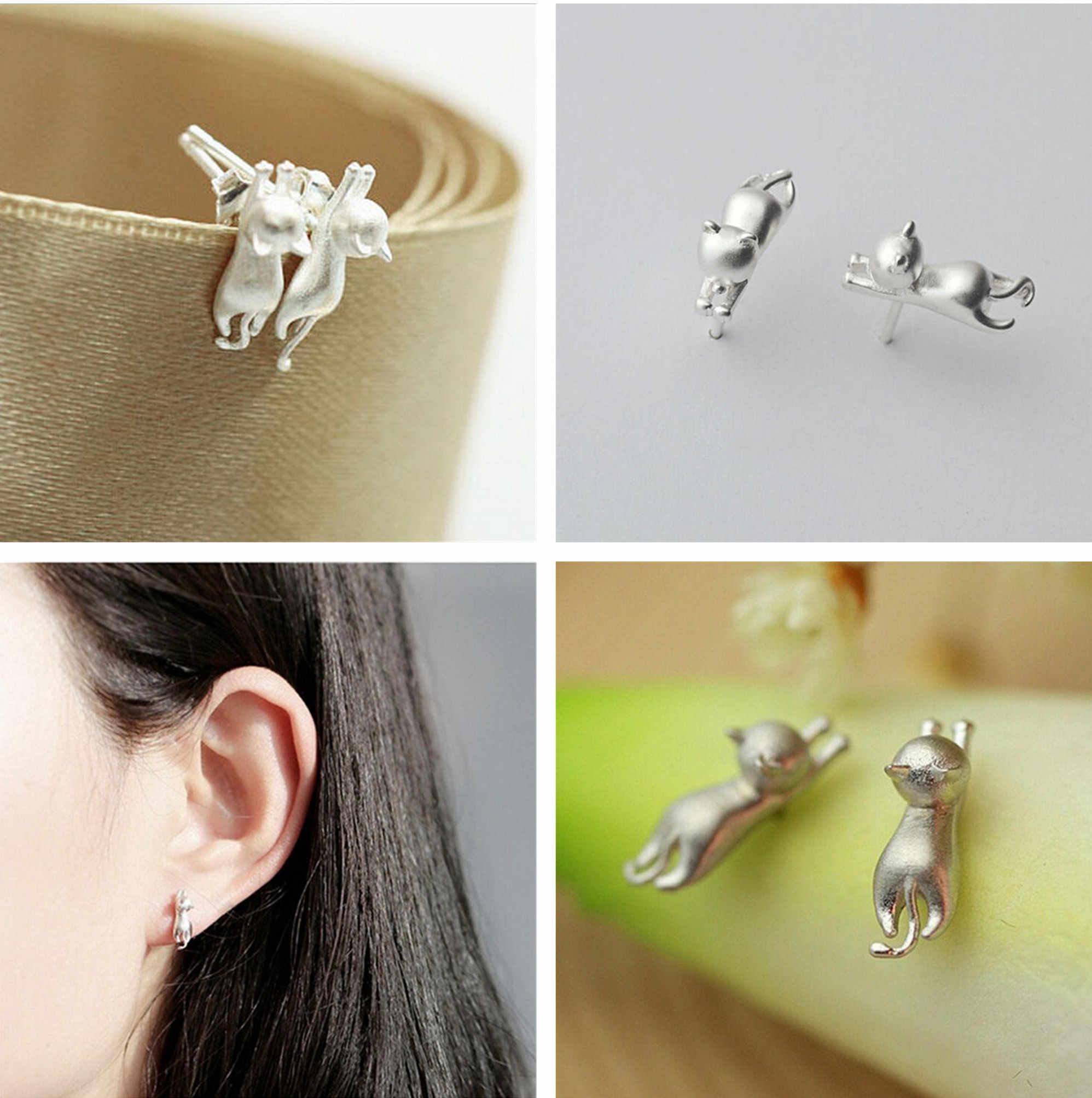 1 ペアかわいい子猫耳のスタッドファッションミニシルバー 925 スターリング猫の銀のイヤリング女性ミニマ宝石ギフト