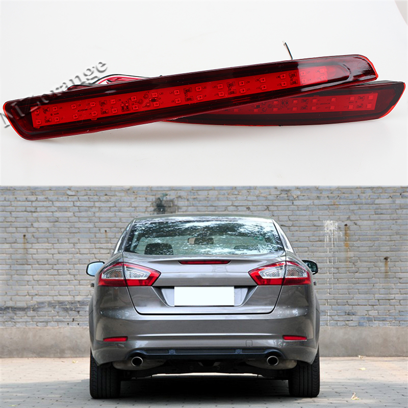 2 Pcs Tail Red Rear Bumper Light LED Reflector Stop Brake Fog Lamp For Mondeo Fusion 4 2011 2012 2013 new car red tail rear bumper reflector lamp brake light rear fog lights for ford fiesta 2009 2010 2011 2012 2013 2014 hatchback