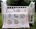 4 Item Baby Girls bedding set  Embroidery Character Crib bedding set Pink Cot bedding set Quilt Bumper Cushion Pillow