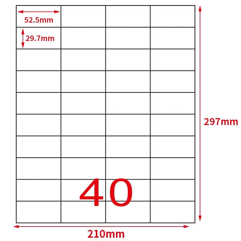 impressão de endereço 52.5*29.7mm 50 folhas 2000
