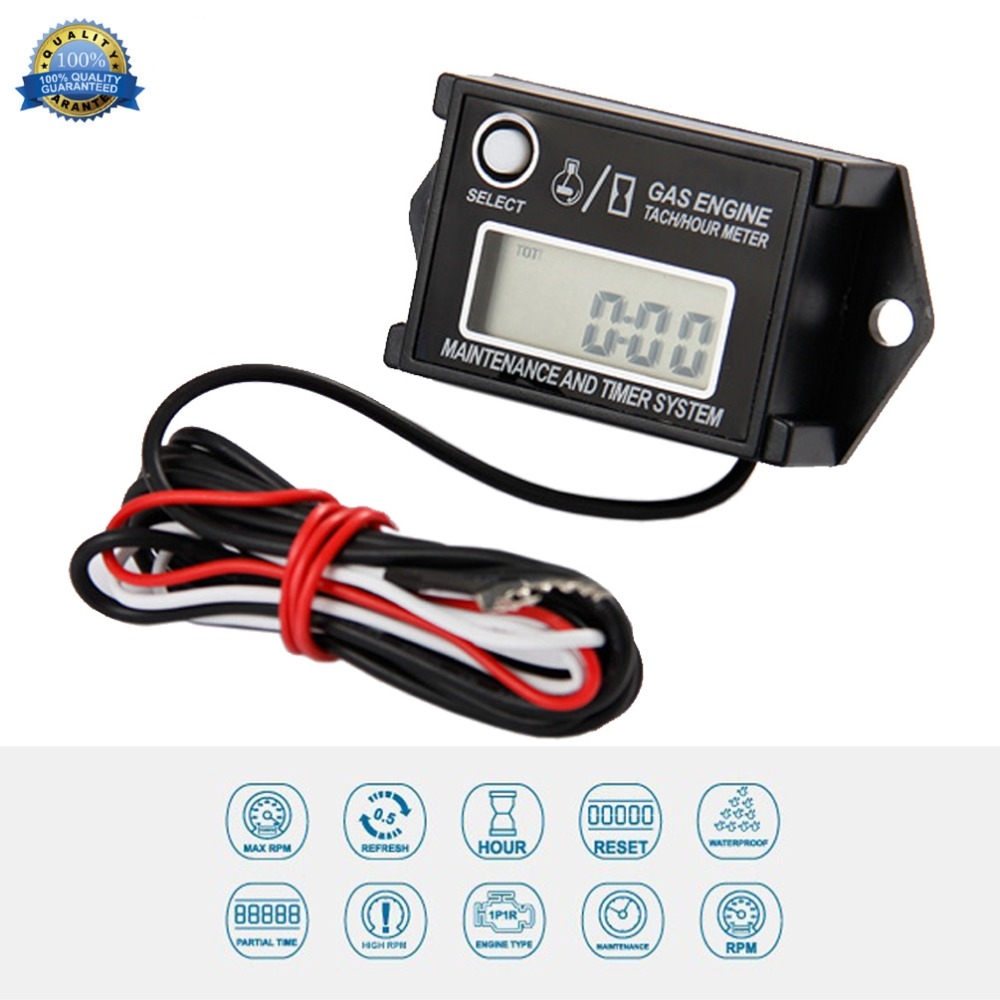 Digital Waterproof Reset Maintenance Minder Tachometer Hour Meter