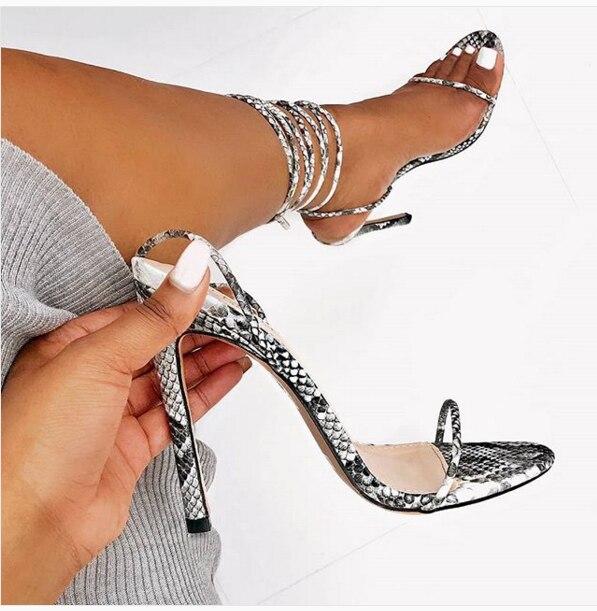Liren 2019 Summer Fashion Snake Printed Gladiator Sandals Women Thin High Heel Cross Strap Shoes Sliver for Girls