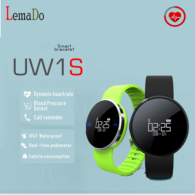 UW1S Bluetooth Smart band Heart Rate Calls SMS Remind Pedometer Fitness tracker Sport Bracelet for Android IOS