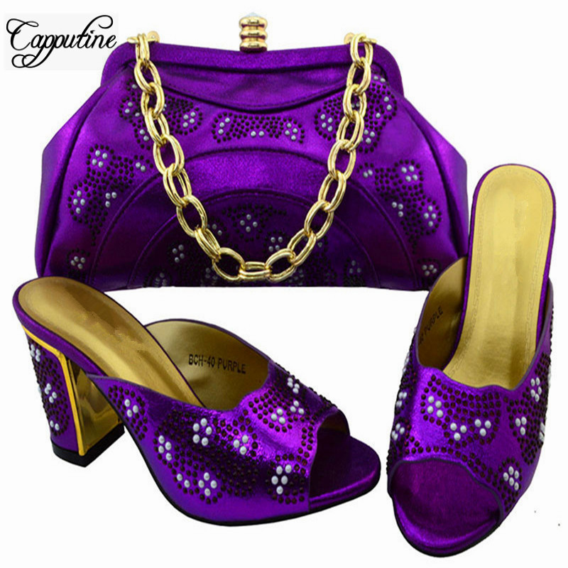 Capputine Fashionable Design African Shoes And Bags Set Latest Rhinestone High Heels Woman Sandals And Bag Set For Party BCH-40 capputine new arrival woman shoes and bag set nigerian design high heels shoes and bag sets for party free shipping bch 40