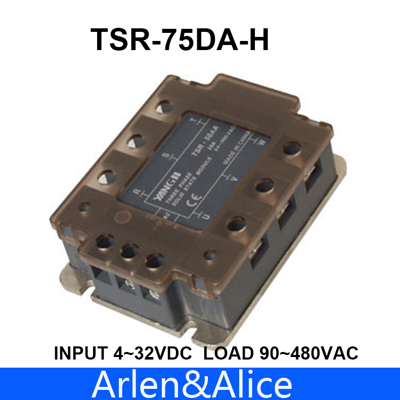 75DA TSR-75DA-H Three-phase High voltage type SSR input 4-32V DC load 90-480V AC single phase AC solid state relay normally open single phase solid state relay ssr mgr 1 d48120 120a control dc ac 24 480v