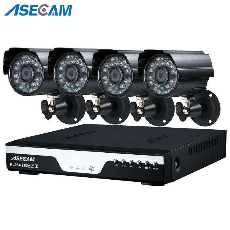 Super 4MP HD 4 Canal Vigilância Início Preto 4CH pequeno Metal Bala Câmera de Segurança H.264 Kit DVR Ao Ar Livre Sistema de CFTV kit