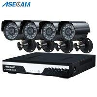 Супер 4MP HD 4 канала наблюдения домашней черный маленький металлический Пуля безопасности Камера H.264 DVR комплект открытый 4CH CCTV Системы компле