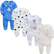 2019 3 4 pcs lot Summer Baby Boy roupa de bebes Newborn Jumpsuit Long Sleeve Cotton Pajamas 0-12 Months Rompers Baby Clothes cheap Full Covered Button Baby Rompers Unisex O-Neck KAVKAS Fits smaller than usual Please check this store s sizing info Animal