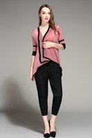 loose thin skinny pants female pleated fashion all-match fold trousers free shipping