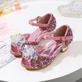 Сандалии для девочек принцесса  на высоком каблуке  с кристаллами  серебристыми блестками  обувь для танцев  блестящие сандалии со стразами ...