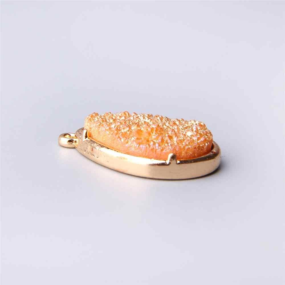 天然 orange ブラジル電着ゴールド刃物スライスオープン瑪瑙の Geode Drusy Druzys ペンダント女性のネックレスの宝石