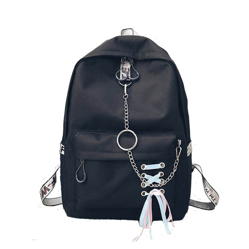 Canvas School Backpack Female School bags for Teenage Girls Mochila Feminina Escolar Women Backpacks Chain Laptop Bagpack bolsos vintage cute owl backpack women cartoon school bags for teenage girls canvas women backpack brands design travel bag mochila sac