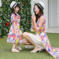 2017 лето Богемной платье девушки женщины макси платье мама и дочь соответствия платье мать и дочь одежда платья 2 цвета