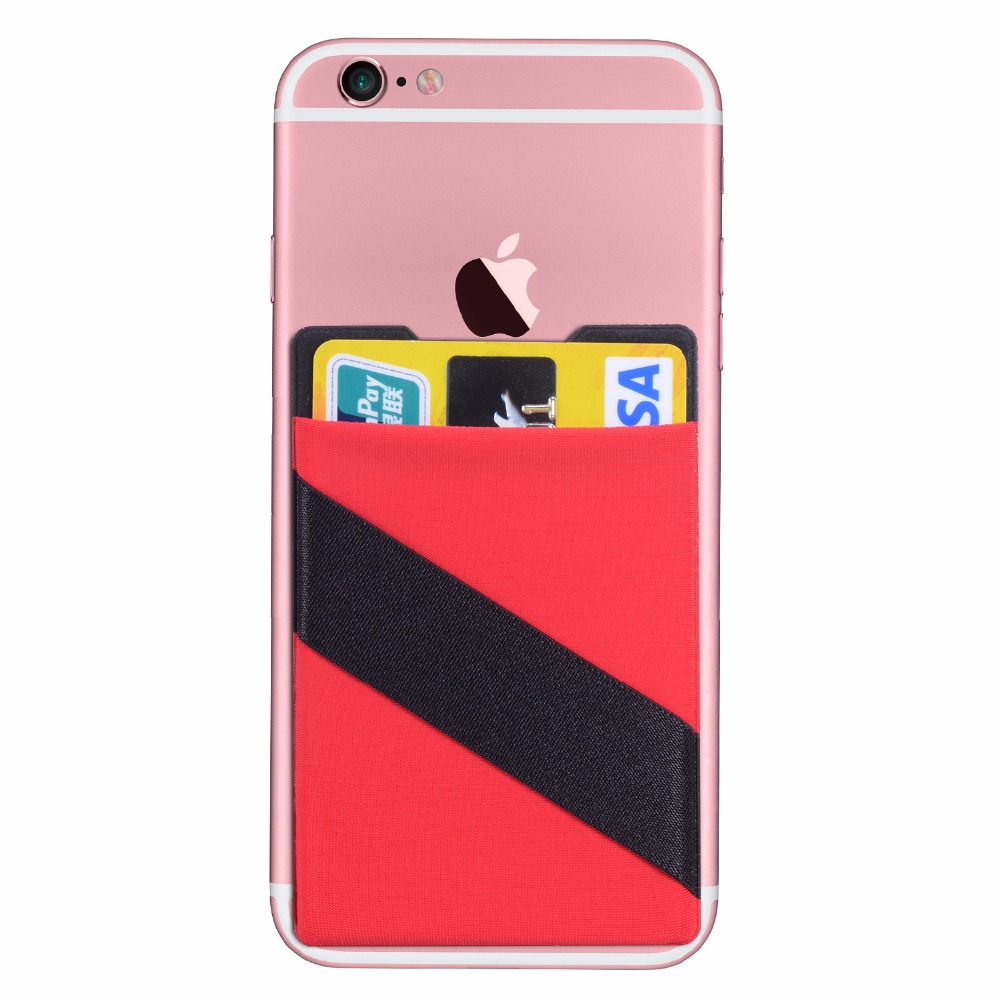 Elastic Lycra Cell Phone Wallet Case Credit ID Card Holder
