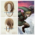 Free Shipping The Legend of Zelda Link short brown Cosplay Wig + free wig cap