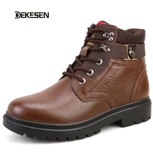 DEKESEN 2016 Fashion Black shoes men Genuine leather men winter boots ankle lace up men boots Autumn leather boots for men shoes