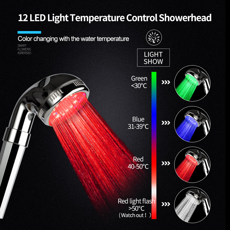 Shower Heads Vehhe Combination Vip Link Best Sale Led Temperature Control Faucet Aerator Shower Head Colorful Top Spray Shower Equipment