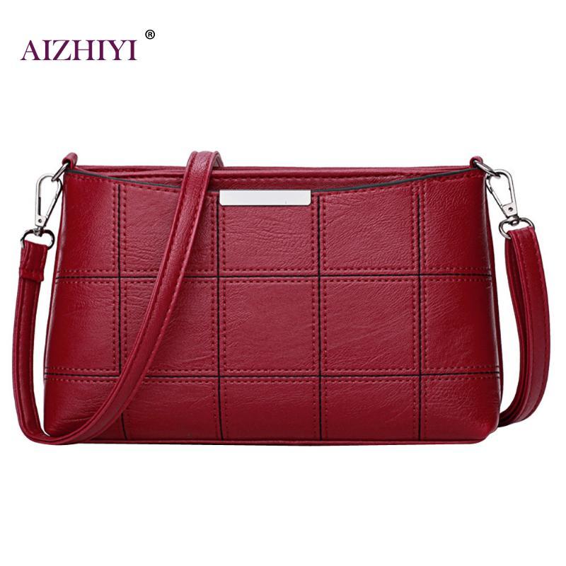 Woman Plaid Leather Crossbody Hand Bag  Main Female Messenger Shoulder Bags Girls Cluch luxury Handbags Women Bags Designer 2018