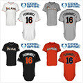 No.16 Men's Miami Marlins Jose Fernandez Tee Shirt Black White Orange