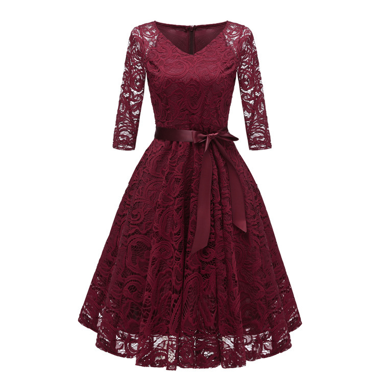 Autumn Homecoming Dresses CG00116 New Arrival Winter Lace A-line V-neck Cheap Short Cocktail Party Dresses With Sleeves