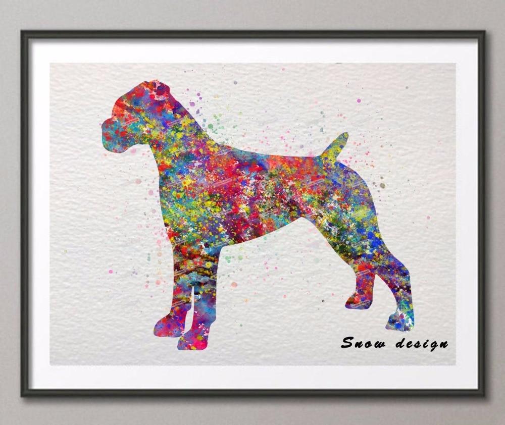 Original Boxer watercolor wall art canvas painting Dog poster print ...