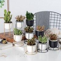 Set of 3pcs Modern Planter Pot With Gold Black Iron Shelf Succulent Plant Pot Desktop Flowerpot Metal Stand Fairy Garden Decor