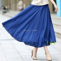 Free Shipping Blend Linen Long Skirt Spring Summer Skirts Chinese Style Bohemian Denim Blue Skirts Casual