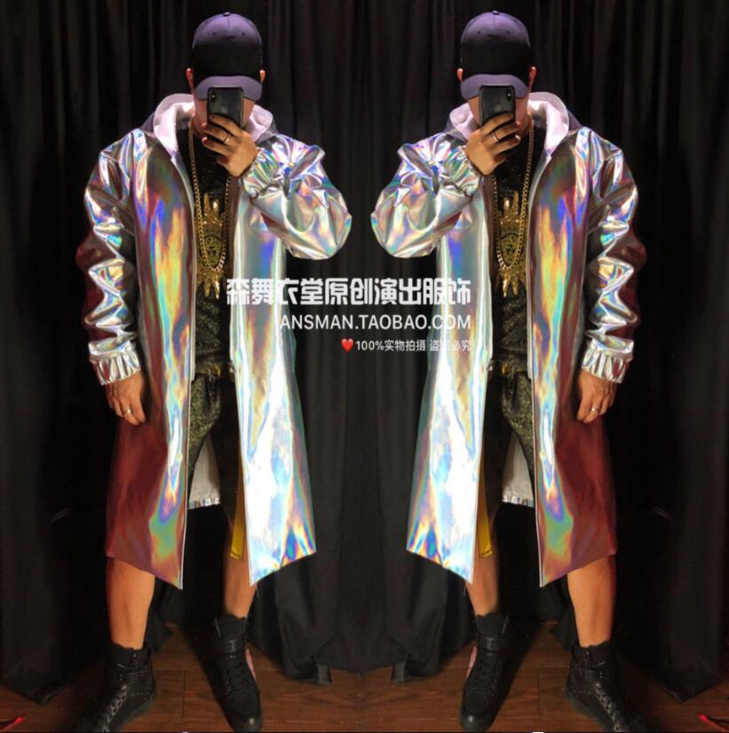 Hot Sale Custom Style !! New Men's Clothing Fashion Singer Dj Gd Colorful Laser Long Loose Coat Star Nightclub Bar Stage Costumes S-5xl