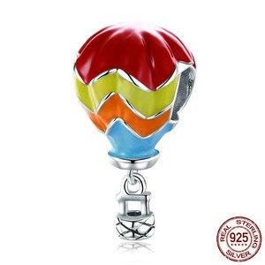Image 3 - 925 스털링 실버 크리스마스 기차 선물 상자 빨간 모자 맞는 유럽 팔찌, 베어 Airballoon 구슬, 산타 클로스 하트 컵 매력