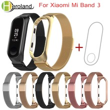 Milanese loop Stainless Wrist Strap For Xiaomi Mi Band 3 Wristbands Miband 3 smart Bracelet watch band  Belt Accessories +film недорого