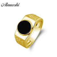 AINUOSHI Round Black Agate Flat Ring 14K Solid Yellow Gold Solitaire Gems Wedding Engagement Anniversary Gold Jewelry Men's Ring
