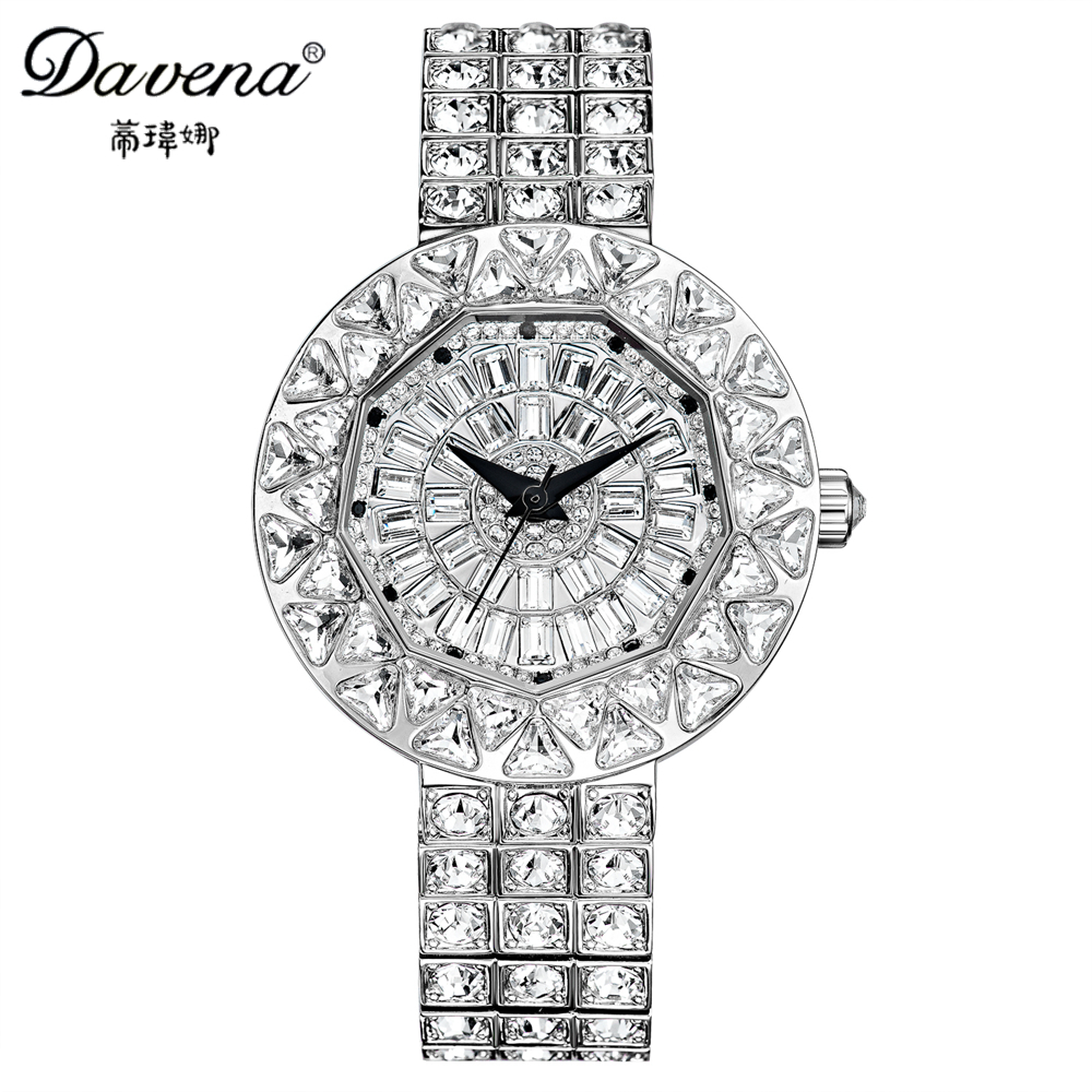Luxury big shine dazzling crystal bling rhinestone watch Women fashion casual quartz original watches Brand Davena 61050 clock