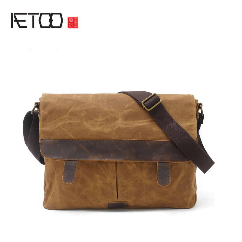 Фотография AETOO Men leisure shoulder bag oil wax canvas with leather bag waterproof Messenger bag retro bag