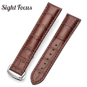 Image 2 - 18mm 19mm 20mm 21mm Bracelet en cuir pour Omega montre vitesse couturière Bracelet fermoir déployant noir marron Bracelet de montre Bracelet ceinture
