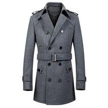 2018 Moda Casual Casaco Longo Casaco de Trincheira Dos Homens de Inverno  Dos Homens casaco de Lã Coreano Jaqueta Casaco Preto Do. c46b0ddf78a